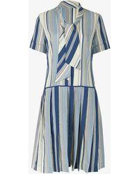 Beyond Retro Pre-loved 1970s Striped Woven Mini Dress - Blue
