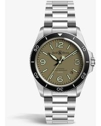 Bell & Ross Brv292-mka-st/sf Steel Heritage Stainless-steel And Canvas Automatic Watch - Green