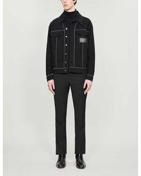 Fendi Logo-badge Cotton-twill Jacket - Black