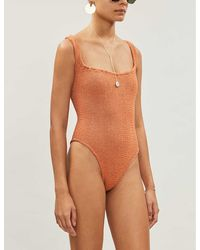 Hunza G Zora Seersucker Swimsuit - Orange