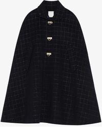 Sandro Virgila Checked Double-faced Wool-blend Cape Coat - Black