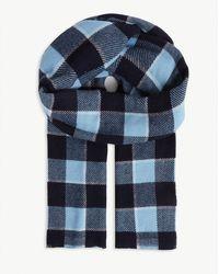 Acne Studios Cassiar Checked Logo Wool Scarf - Blue