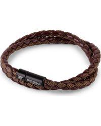 Tateossian Chelsea Leather Double-wrap Bracelet - Black