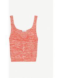 Claudie Pierlot Mimosa Ribbed Woven Vest Top - Multicolour