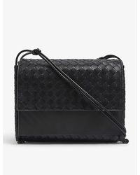 Bottega Veneta Fold Large Intrecciato Leather Satchel Bag - Black