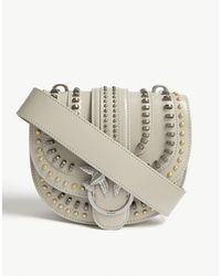 Pinko Round Love Studded Leather Cross-body Bag - Natural