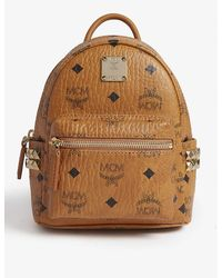 MCM Stark Studded Visetos Coated Canvas Mini Backpack - Brown
