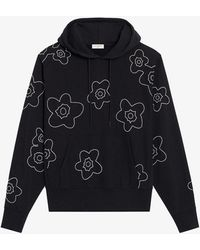 Sandro Floral-embroidered Organic Cotton-jersey Drawstring-hoody - Blue