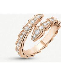 BVLGARI Serpenti 18ct Rose-gold And Diamond Ring - Pink
