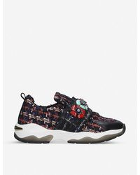 Kurt Geiger Lara Embellished Tweed Sneakers - Blue