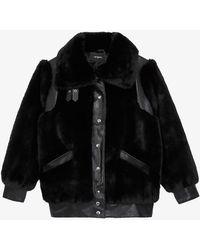 The Kooples Collared Faux-fur Coat - Black