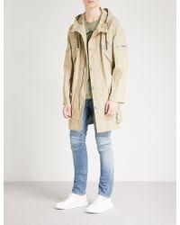 Balmain Belted Cotton-blend Parka Coat - Natural