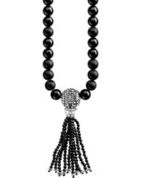 Thomas Sabo - Rebel At Heart Mala Power Sterling Silver And Obsidian Bead Necklace - Lyst