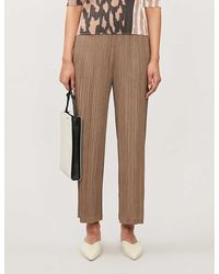 Pleats Please Issey Miyake Cropped Wide-leg High-rise Plissé Trousers - Grey