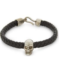 Alexander McQueen Skull Charm Braid Leather Bracelet - Black