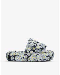 Natasha Zinko Volume Daisy-print Cotton-terry Sliders - Multicolour