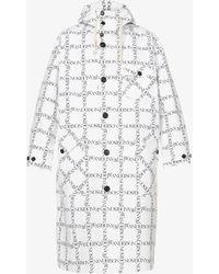 JW Anderson Logo-print Cotton Hooded Parka Coat - White