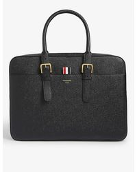 Thom Browne Striped Tab Leather Laptop Bag - Black