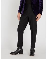 The Kooples - Tapered Wool And Satin Trousers - Lyst