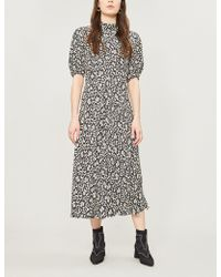 Ghost - Luella Floral-print Flared Crepe Dress - Lyst
