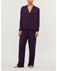 Rails Clara Striped Flannel Pajama Set - Blue