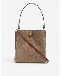 COACH Charlie Coated-canvas And Leather Bucket Bag - Brown
