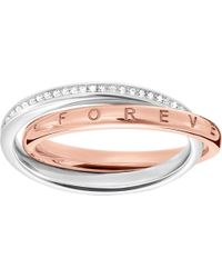Thomas Sabo Together Interlocking Sterling Silver And Diamond Ring - Metallic