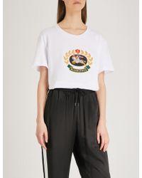Burberry - Gully Crest Cotton-jersey T-shirt - Lyst