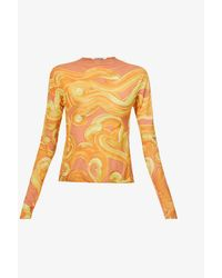 CHARLOTTE KNOWLES Halcyon Printed Stretch-woven Top - Yellow