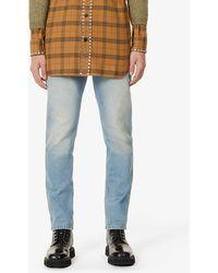 Gucci Web-stripe Slim-fit Tapered Jeans - Blue
