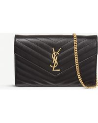 Saint Laurent - Monogram Envelope Quilted Leather Cross-Body Bag - Lyst