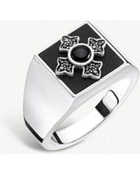 Thomas Sabo - Rebel At Heart Cross Silver And Onyx Ring - Lyst