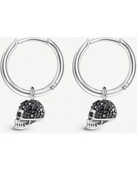 Thomas Sabo - Skull Mini Sterling Silver And Zirconia Hoop Earrings - Lyst