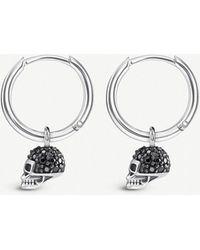 c06d883c8 Thomas Sabo - Skull Mini Sterling Silver And Zirconia Hoop Earrings - Lyst