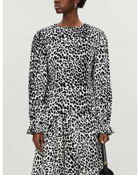 BATSHEVA Leopard-print Ruffle-trimmed Velvet Blouse - Black