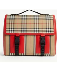 Burberry Check Print Leather And Nylon Satchel - Red