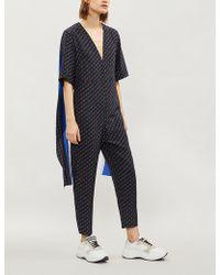 d75cf6b86243 Stella McCartney - Logo-print Silk Jumpsuit - Lyst