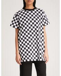 Mini Cream - Checkerboard Cotton-jersey Tunic - Lyst