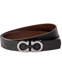 Ferragamo - Reversible Pebble Leather Logo Belt - Lyst