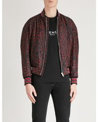 Givenchy - Script-print Padded Silk-twill Bomber Jacket - Lyst