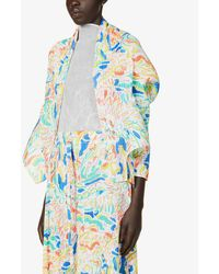 Pleats Please Issey Miyake Playing Graphic-print Woven Jacket - Blue