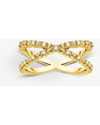 Thomas Sabo Criss Cross Dots 18ct Yellow Gold-plated Sterling Silver Ring - White