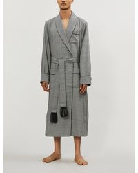 Derek Rose Lincoln Houndstooth Check Wool Dressing Gown - Black