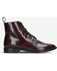 KG by Kurt Geiger Tilda Mock Croc Leather Ankle Boots - Brown