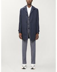 BOSS by HUGO BOSS Mens Dark Blue Single-breasted Regular-fit Cotton-blend Coat 38
