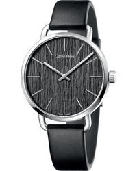 CALVIN KLEIN 205W39NYC - K7b211c1 Even Stainless Steel And Leather Watch - Lyst