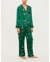 Chinti & Parker Star-pattern Silk-satin Pajama Set - Green
