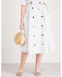 Lisa Marie Fernandez - Diana Polka Dot-embroidered Linen Skirt - Lyst