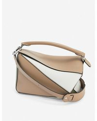 Loewe Puzzle Leather Shoulder Bag - Natural