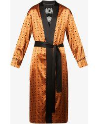 MCM Brand-print Belted Silk-blend Robe - Orange